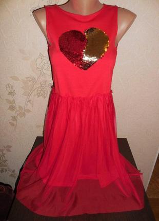 Платье h&m стрейч, низ + фатин, паетки перевёртыши,сзади длиннее, 11-12 лет.