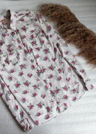 ✨тонка , легка ,натуральна рубашка із квітами на кнопках ✨