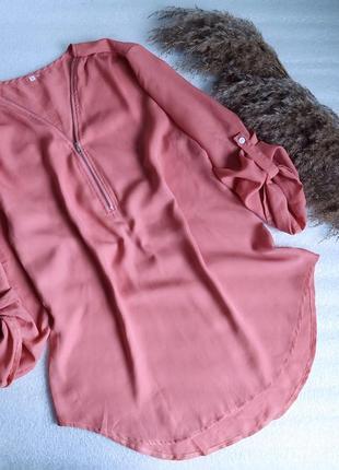 ✨легка шифонова  блуза іщ молнією та подовженою спинкою ✨
