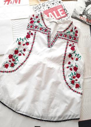 🌺🦋🌸 вышитая белая маечка/ блузка