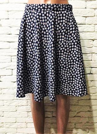 Лёгкая юбка ромашки, фасон полусолнце