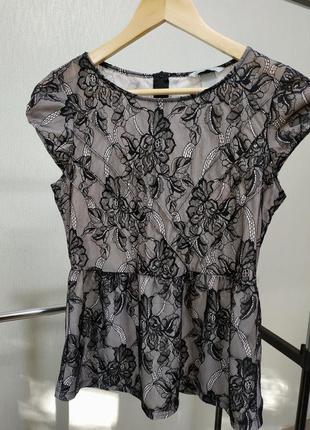 Кружевная блузка с баской h&m