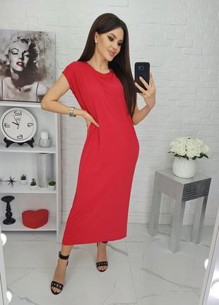 Червона сукня - футболка вільного крою / платье свободное трикотаж