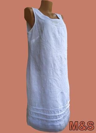 Летнее белое нарядное льняное платье marks & spencer