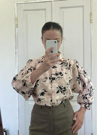 Тренд винтаж рубашка розы цветы нюд
