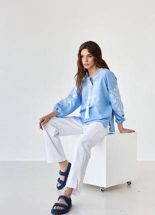 Женская блуза вышиванка с вышивкой орнамент xs-5xl2 фото