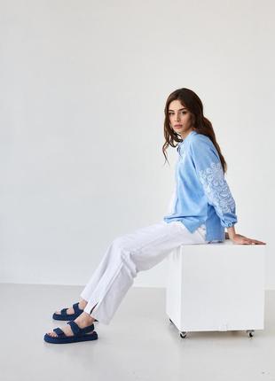 Женская блуза вышиванка с вышивкой орнамент xs-5xl3 фото
