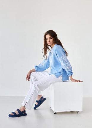 Женская блуза вышиванка с вышивкой орнамент xs-5xl5 фото
