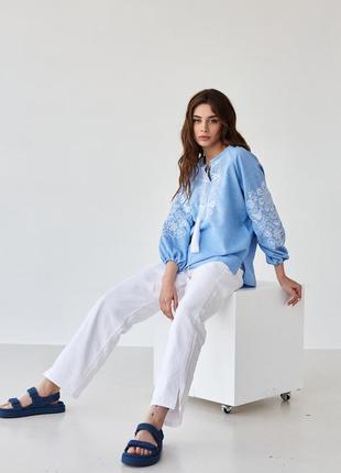 Женская блуза вышиванка с вышивкой орнамент xs-5xl4 фото