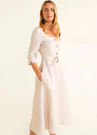 Распродажа натуральное платье mango миди с поясом с asos