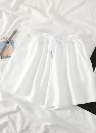 Шорты короткие спортивные летние, белые трикотажные шорты, шорти трикотажні літні