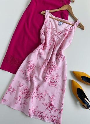 Лляна сукня міді трапеція