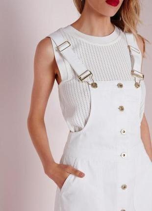 Модный белый джинсовый сарафан платье сукня плаття