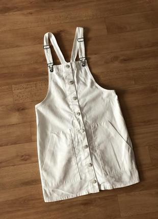 Модный сарафан платье сукня плаття белый джинсовый