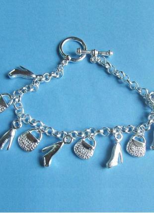 Стильный браслет сумочки с туфельками в серебре 925 покрытия, новый! арт.544