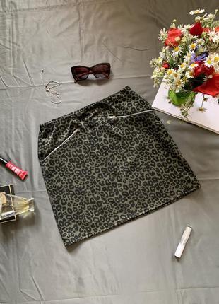 Мини юбка в анималистический принт, юбка мини