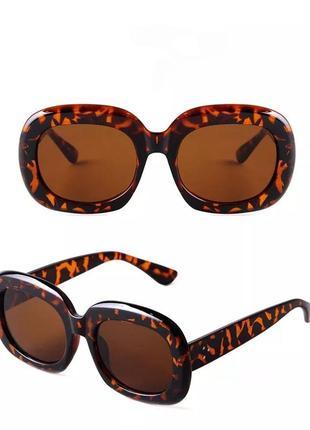 Тренд солнцезащитные очки леопардовые большие овальные круглые ретро коричневые окуляри сонцезахисні леопардові