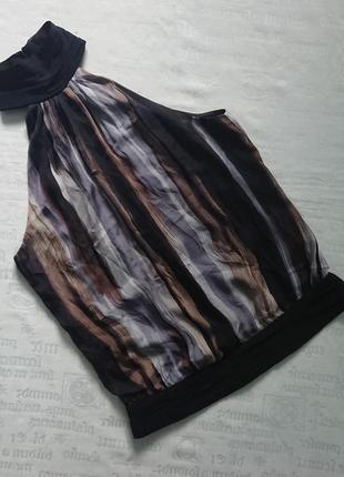 Эффектная блуза без рукавов zara/топ под шею/майка из шелка на подкладке #63%шелк#