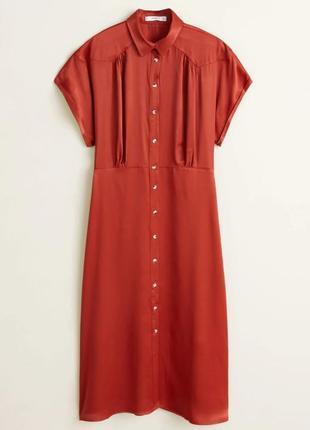 Атласное платье миди mango на кнопках