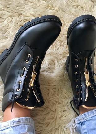 Женские черные качественные демисезонные ботинки в стиле balmain, 40-41р