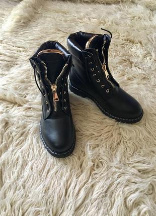 Женские черные качественные демисезонные ботинки в стиле balmain 2018, 36-41р