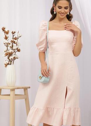 Льняное платье цвета пудры - отличного качества