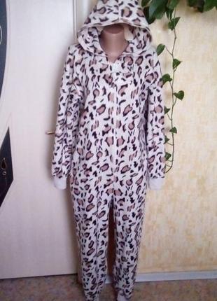 Флисовый леопардовый кигуруми/халат/слип/ночнушка/комбинезон/штаны/костюм/