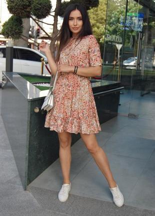 Платье 👗 цветочный принт 🌸по низу волан