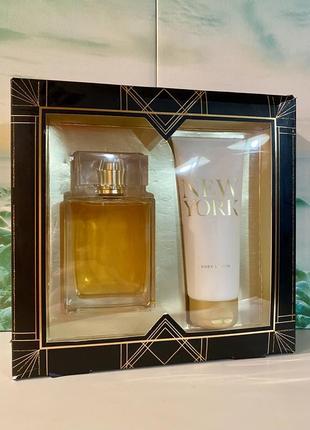 New york m&s редкий подарочный набор: туалетная вода 100 мл и парф. лосьон для тела  100 мл