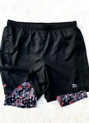 Мужские шорты для бега с тайсами crivit pro run размер eur l 52/54 беговые