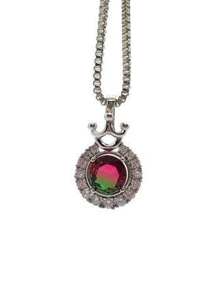 """🌷💚 миниатюрный кулон на цепочке """"корона"""" с кристаллом малиново-зеленого цвета родий xuping"""