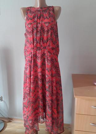Элегантное шифоновое платье на подкладке,принт ,,бабачки,,батал