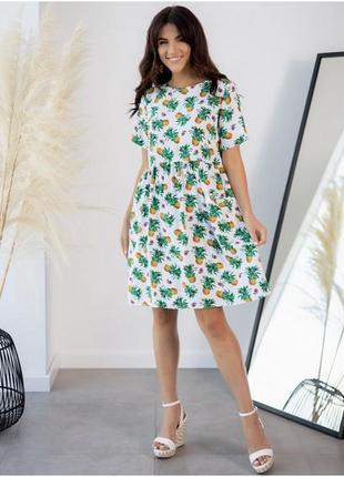 Лёгкое платье в тропический принт с карманами