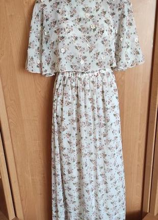 Шикарное нежное платье макси