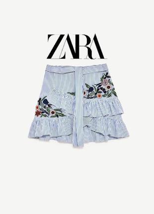 Очень крутая трендовая юбка с вышивкой в идеальном состоянии🖤zara🖤