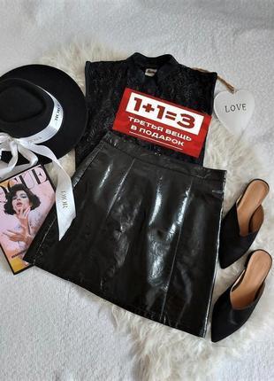 Стильная крутая черная виниловая юбка цвет черный в идеальном состоянии 🖤new look🖤