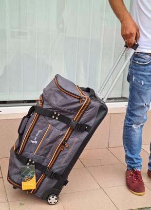 Сумка чемодан на колесах tbl-034 sky travel средняя, серая