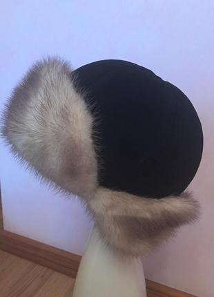 Норковая шапка ушанка шляпа головной убор мех