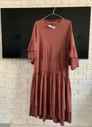 Платье zara с воланами с оборками