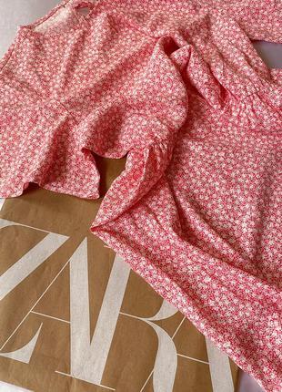 Розовое платье-миди в цветы/цветочный принт/цветочное tu