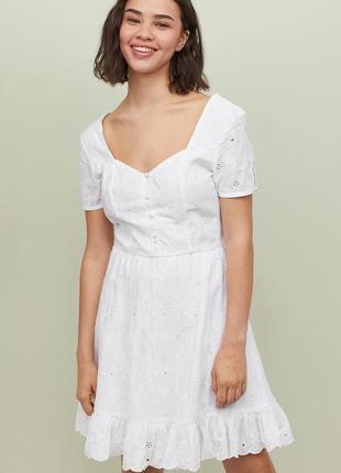 Новое хлопковое платье из прошвы h&m