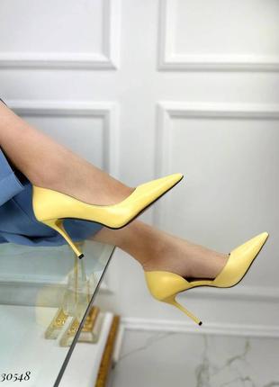 ❤️ стильные кожаные туфли лодочки желтые