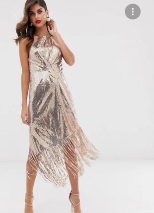 Gold in thisasos design midi dress