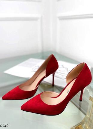 ❤️ шикарные красные замшевые туфли лодочки