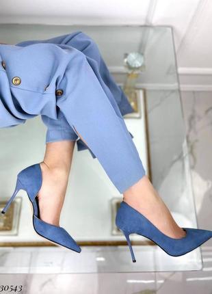 💥 стильные замшевые голубые туфли лодочки