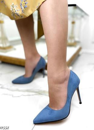 Шикарные женские замшевые синие  туфли лодочки на шпильке