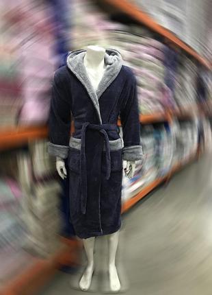 Тёплый махровый/плюшевый длинный халат с капюшоном турция 48-56