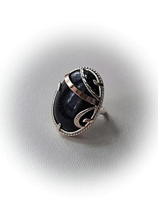 17.5 размер кольцо серебро с золотом авантюрин4 фото