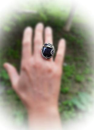 17.5 размер кольцо серебро с золотом авантюрин3 фото