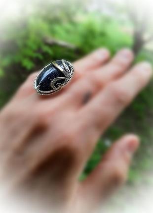 17.5 размер кольцо серебро с золотом авантюрин1 фото